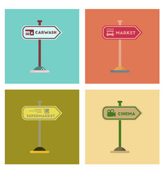 Assembly flat icons sign of market car wash vector