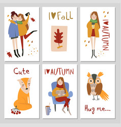 Autumn cards template with hand drawn elements vector