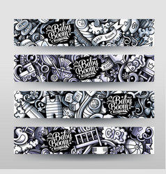 Ba hand drawn doodle banners design vector