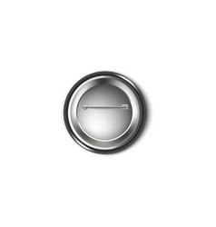back a black plastic button pin metallic side vector image