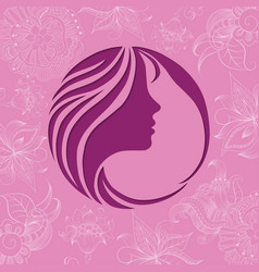 beautiful girl face on flower background vector image