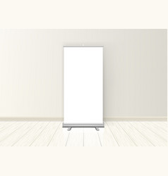 blank realistic roll up banner display in room vector image