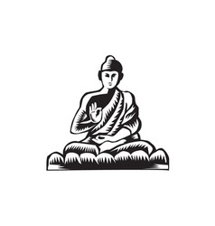 Buddha Lotus Pose Woodcut vector