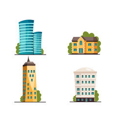 Buildings icon set different heights residential vector