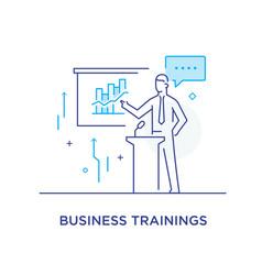 Business coach at blackboard training vector