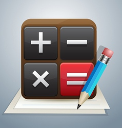 calculator and note pencil vector image