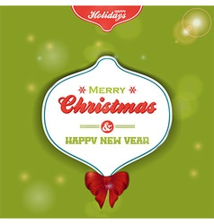 Christmas bauble label on green background vector image