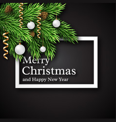 Christmas design realistic white frame and text vector