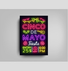cinco de mayo poster in neon style design vector image