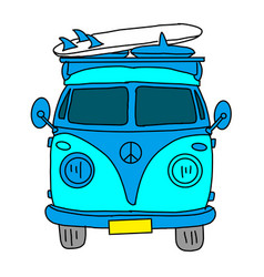 Classic retro bus old hipster bus red microbus vector