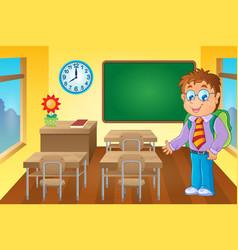 Classroom with schoolboy vector