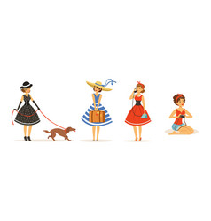 Collection beautiful young women dressed retro vector
