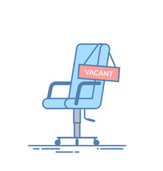 Comfortable office chair with a vacancy sign vector