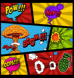 Comic page mockup with color background bomb vector