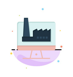 Computer building monitor factory abstract flat vector