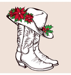 Cowboy christmas boots and hat graphic vector