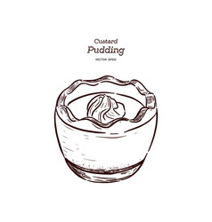 custard pudding in glass hand draw sketch vector image
