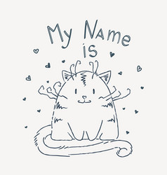 cute cartoon cat with lettering vector image