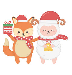 Cute fox and sheep with gift and bell merry vector