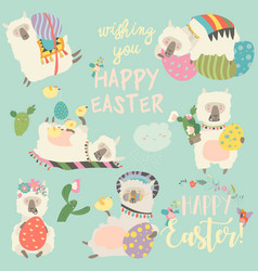 Cute llama or alpaca with easter eggs vector