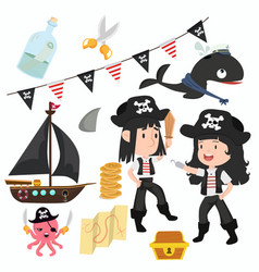 cute of pirate accessories and symbols collection vector image
