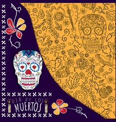 dia de los muertos day of the dead card with vector image