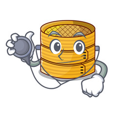 Doctor character steamed bamboo for food tool vector