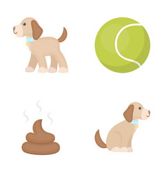 Dog sitting dog standing tennis ball feces dog vector