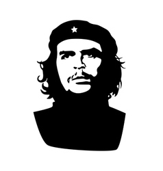 Ernesto Che Guevara black silhouette on white vector
