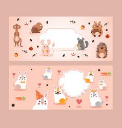 ferret squirrel hare hamster hedgehog rabbit vector image