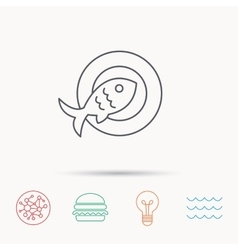 Fish dish icon Natural seafood symbol vector