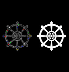 Flare mesh wire frame dharma wheel icon with flare vector