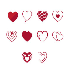 flat color heart icon set vector image