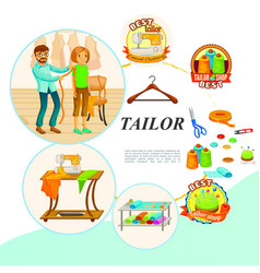 flat tailor tools concept vector image