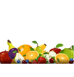 fresh fruits collection isolated on white vector image