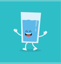 Funny glass of water vector