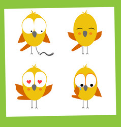 funny small birds icon set vector image