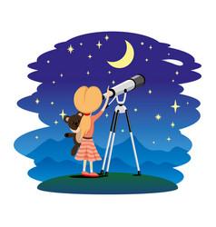 Girl and telescope vector
