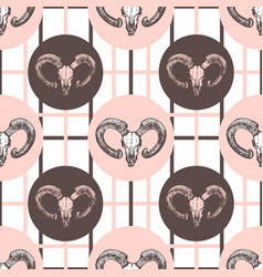 Goat skulls hipster pattern hand drawn fashion vector