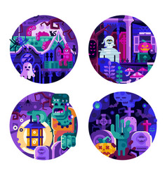 halloween circle icons with monster creatures vector image