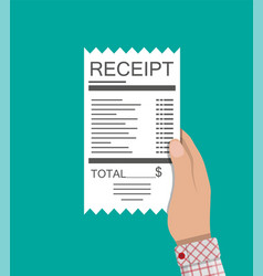 hand holds receipt paper invoice total bill vector image