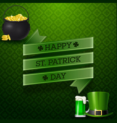 happy st patricks day with beer hat and golden vector image