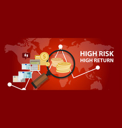 high risk high return investment profile analysis vector image