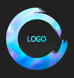 Holographic round design templates for for poster vector
