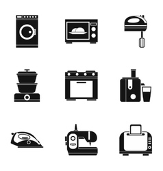 Home appliances icons set simple style vector