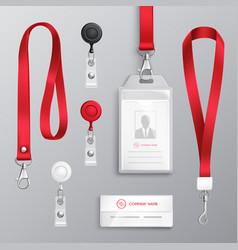 Identification card badge accessories set vector