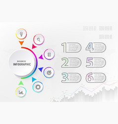 infograph 6 steps element diagram process vector image