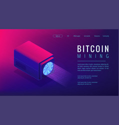 Isometric bitcoin mining landing page concept vector