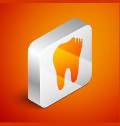 Isometric broken tooth icon isolated on orange vector