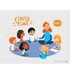 Kids listen and talk to friendly preschool teacher vector